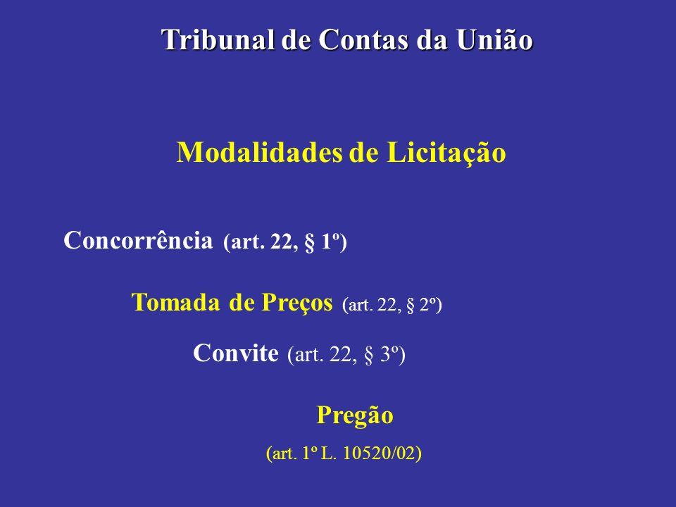 Modalidades de Licitação Tribunal de Contas da União Concorrência (art. 22, § 1º) Tomada de Preços (art. 22, § 2º) Convite (art. 22, § 3º) Pregão (art