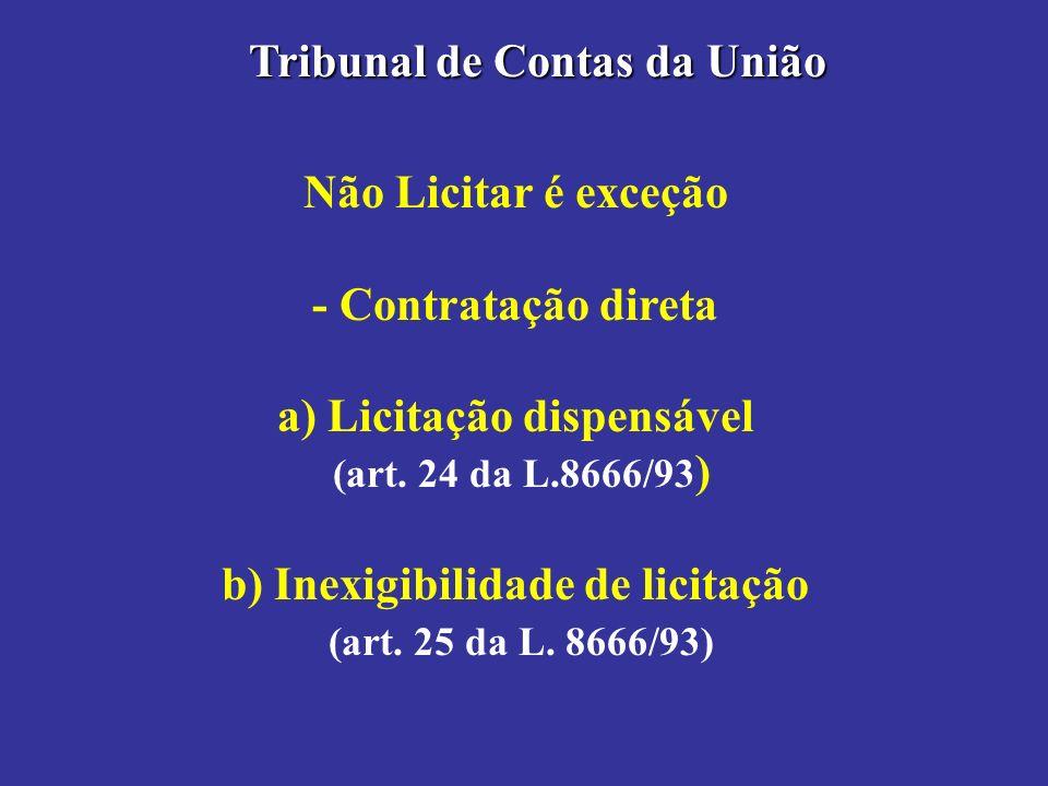 Não Licitar é exceção - Contratação direta a) Licitação dispensável (art. 24 da L.8666/93 ) b) Inexigibilidade de licitação (art. 25 da L. 8666/93) Tr