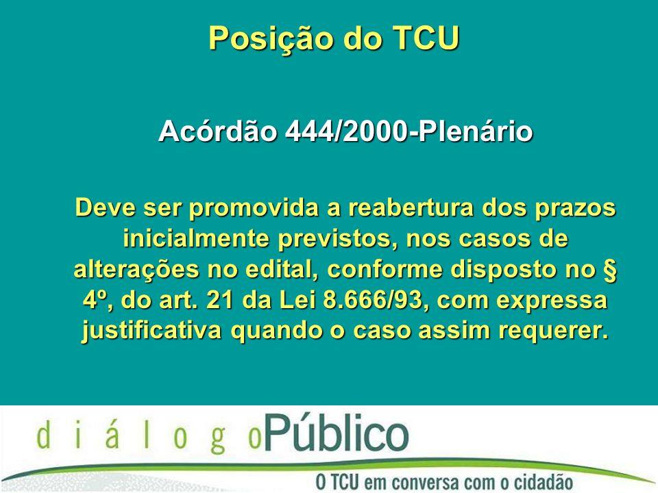 Posição do TCU Acórdão 444/2000-Plenário Deve ser promovida a reabertura dos prazos inicialmente previstos, nos casos de alterações no edital, conforme disposto no § 4º, do art.