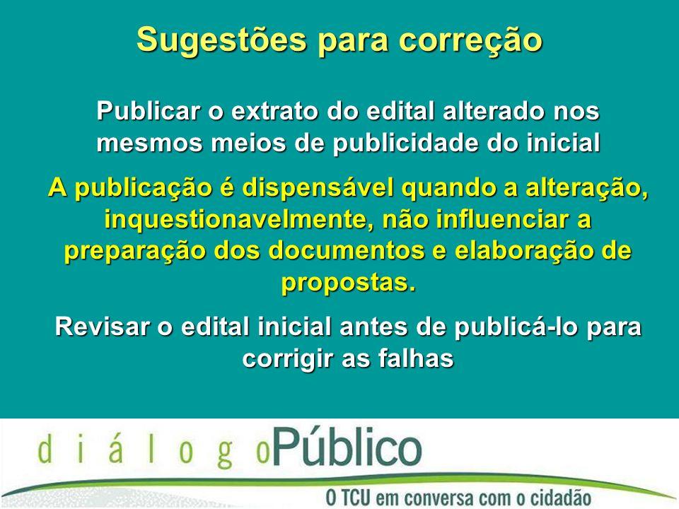 Sugestões para correção Publicar o extrato do edital alterado nos mesmos meios de publicidade do inicial A publicação é dispensável quando a alteração, inquestionavelmente, não influenciar a preparação dos documentos e elaboração de propostas.