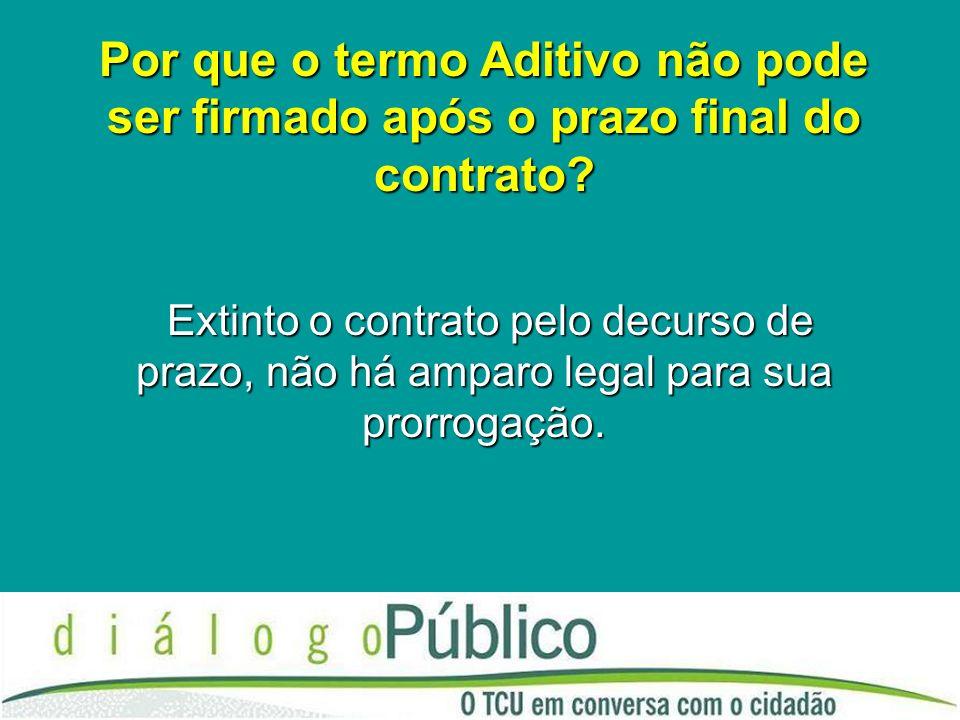 Por que o termo Aditivo não pode ser firmado após o prazo final do contrato.