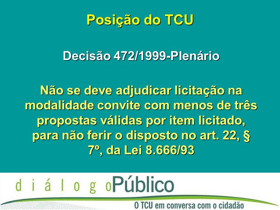 Posição do TCU Decisão 472/1999-Plenário Não se deve adjudicar licitação na modalidade convite com menos de três propostas válidas por item licitado, para não ferir o disposto no art.