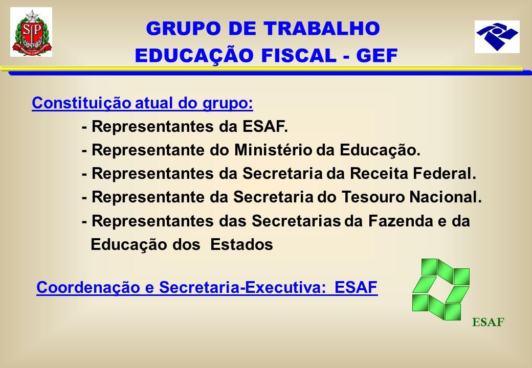 MISSÃO DO GEF Promover a implementação, o desenvolvimento e a sustentabilidade do Programa Nacional de Educação Fiscal - PNEF, de forma ética e democr