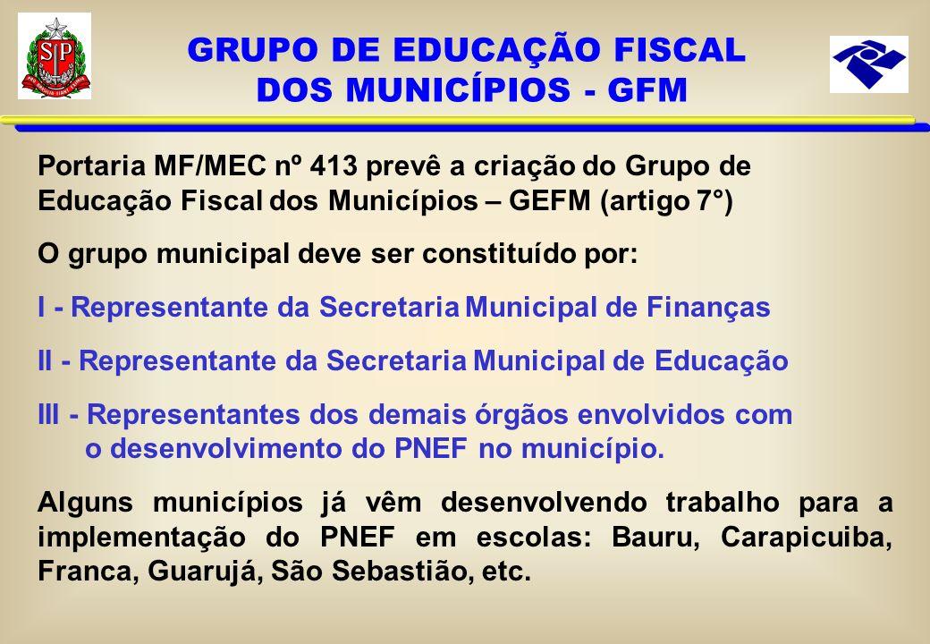 Portaria MF/MEC nº 413 prevê a criação do Grupo de Educação Fiscal dos Estados – GEFE (artigo 5°) Em São Paulo o Grupo Estadual é composto pelos segui
