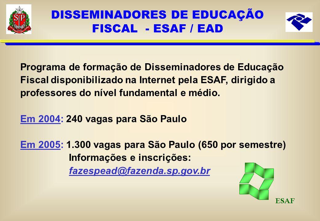 DISSEMINADORES DE EDUCAÇÃO FISCAL NA ESCOLAS ESTADUAIS Em 2004: Programa Piloto 371 escolas de 9 cidades (10 DEs) 2.451 professores capacitados por vi