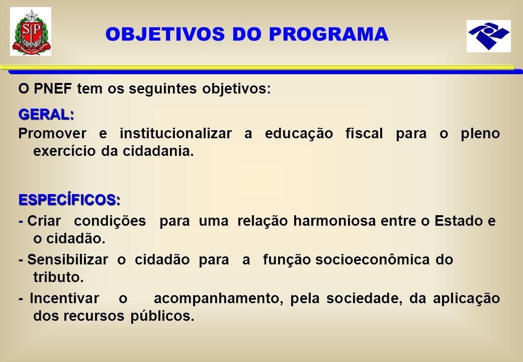 O PNEF tem os seguintes objetivos:GERAL: Promover e institucionalizar a educação fiscal para o pleno exercício da cidadania.ESPECÍFICOS: - Criar condições para uma relação harmoniosa entre o Estado e o cidadão.