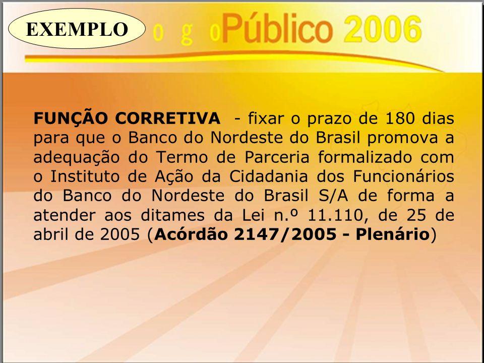 FUNÇÃO CORRETIVA - fixar o prazo de 180 dias para que o Banco do Nordeste do Brasil promova a adequação do Termo de Parceria formalizado com o Institu