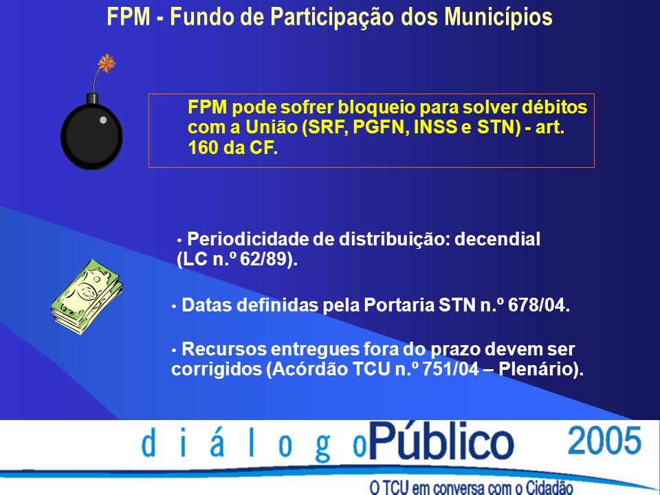 FPM - Fundo de Participação dos Municípios Periodicidade de distribuição: decendial (LC n.º 62/89).