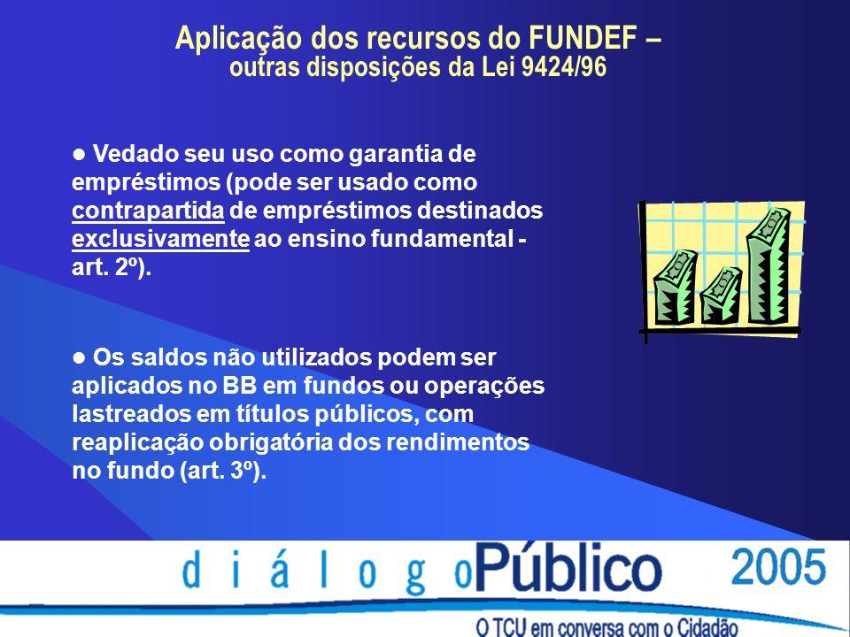 Aplicação dos recursos do FUNDEF – outras disposições da Lei 9424/96 Vedado seu uso como garantia de empréstimos (pode ser usado como contrapartida de empréstimos destinados exclusivamente ao ensino fundamental - art.