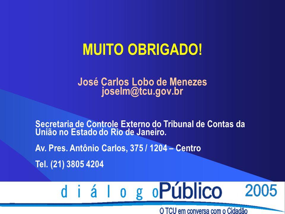 José Carlos Lobo de Menezes joselm@tcu.gov.br Secretaria de Controle Externo do Tribunal de Contas da União no Estado do Rio de Janeiro.