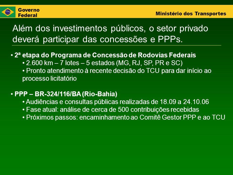 Governo Federal Ministério dos Transportes Além dos investimentos públicos, o setor privado deverá participar das concessões e PPPs. 2ª etapa do Progr