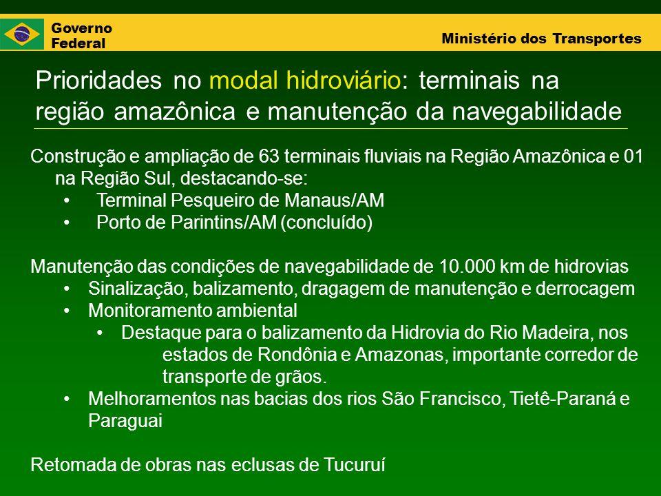 Governo Federal Ministério dos Transportes Prioridades no modal hidroviário: terminais na região amazônica e manutenção da navegabilidade Construção e