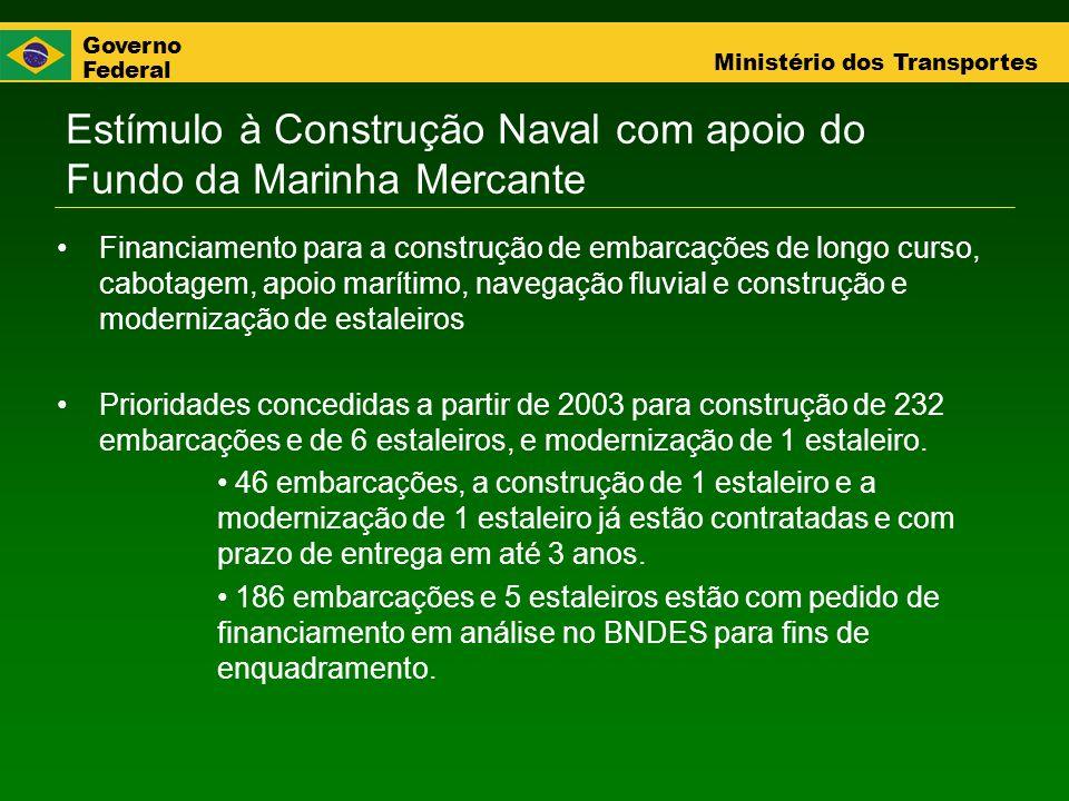 Governo Federal Ministério dos Transportes Estímulo à Construção Naval com apoio do Fundo da Marinha Mercante Financiamento para a construção de embar