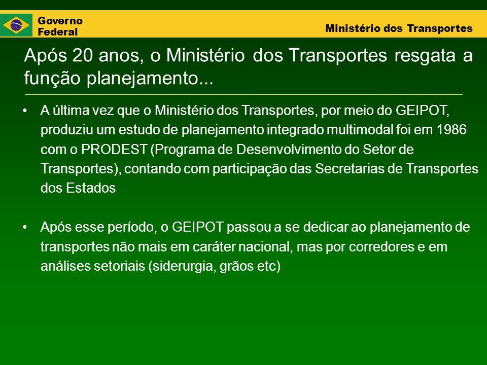 Governo Federal Ministério dos Transportes Após 20 anos, o Ministério dos Transportes resgata a função planejamento... A última vez que o Ministério d
