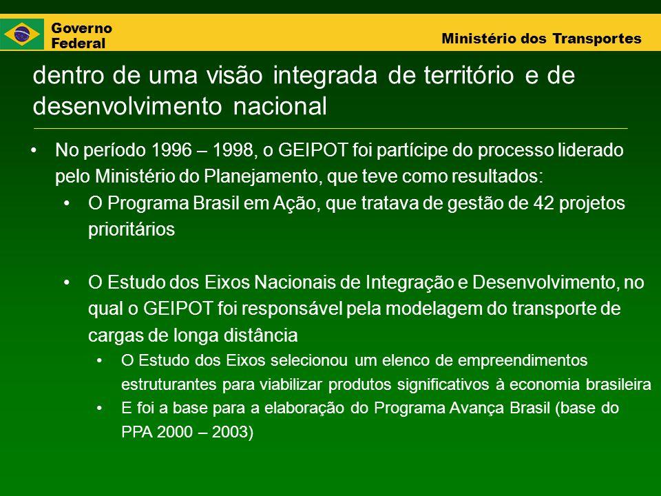 Governo Federal Ministério dos Transportes No período 1996 – 1998, o GEIPOT foi partícipe do processo liderado pelo Ministério do Planejamento, que te