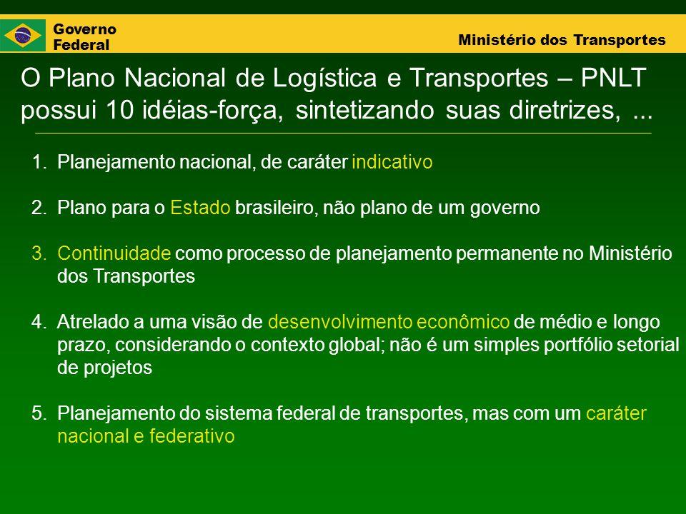 Governo Federal Ministério dos Transportes O Plano Nacional de Logística e Transportes – PNLT possui 10 idéias-força, sintetizando suas diretrizes,...