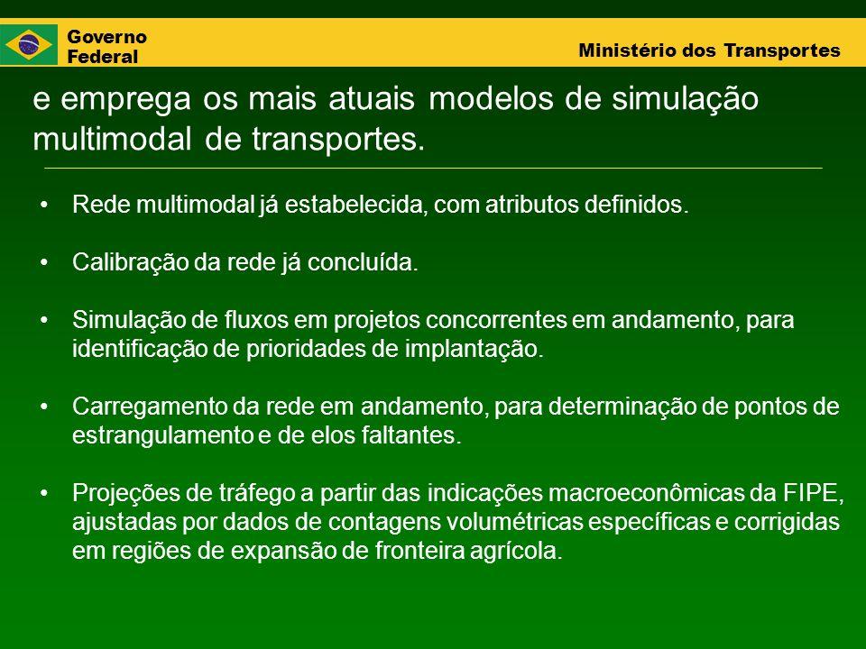 Governo Federal Ministério dos Transportes e emprega os mais atuais modelos de simulação multimodal de transportes. Rede multimodal já estabelecida, c