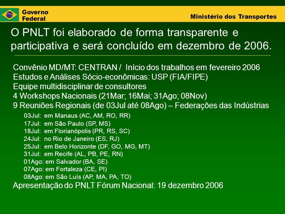 Governo Federal Ministério dos Transportes O PNLT foi elaborado de forma transparente e participativa e será concluído em dezembro de 2006. Convênio M