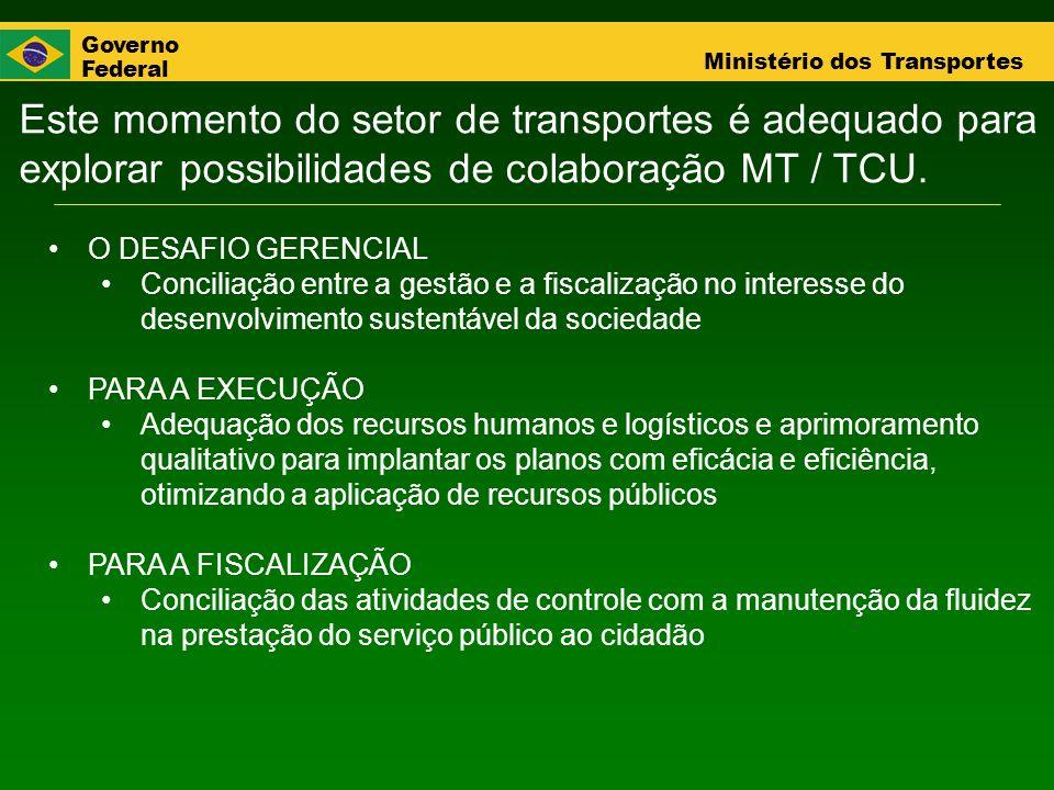 Governo Federal Ministério dos Transportes Este momento do setor de transportes é adequado para explorar possibilidades de colaboração MT / TCU. O DES