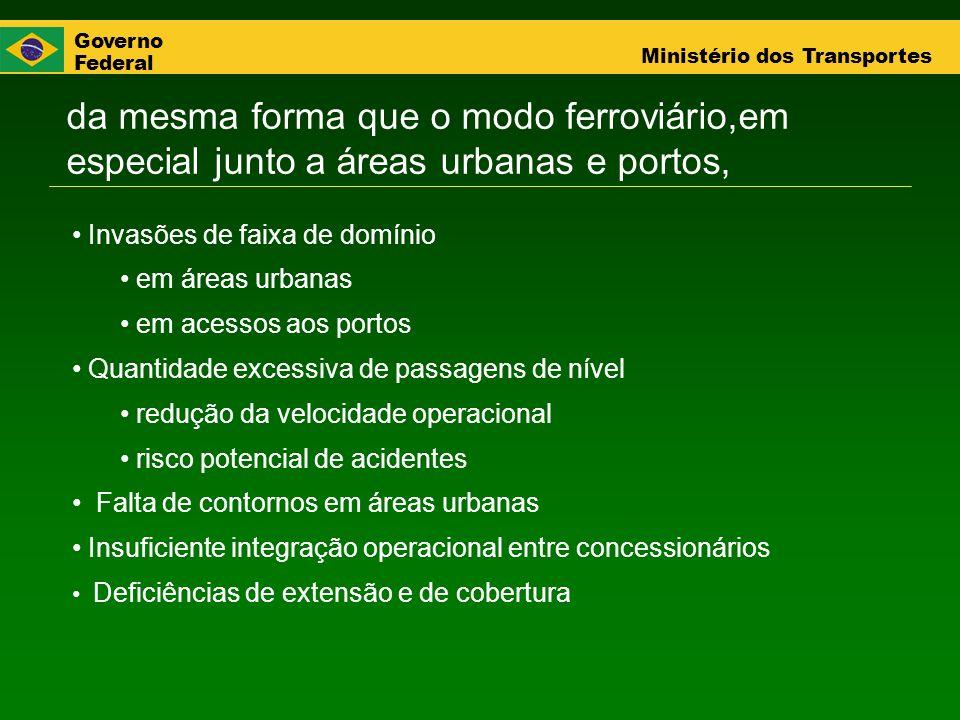 Governo Federal Ministério dos Transportes da mesma forma que o modo ferroviário,em especial junto a áreas urbanas e portos, Invasões de faixa de domí