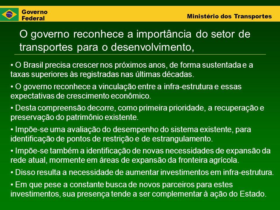 Governo Federal Ministério dos Transportes O governo reconhece a importância do setor de transportes para o desenvolvimento, O Brasil precisa crescer