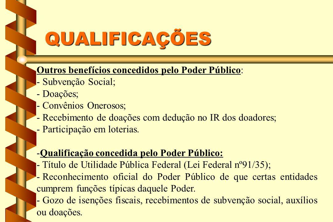 QUALIFICAÇÕES Outros benefícios concedidos pelo Poder Público: - Subvenção Social; - Doações; - Convênios Onerosos; - Recebimento de doações com dedução no IR dos doadores; - Participação em loterias.