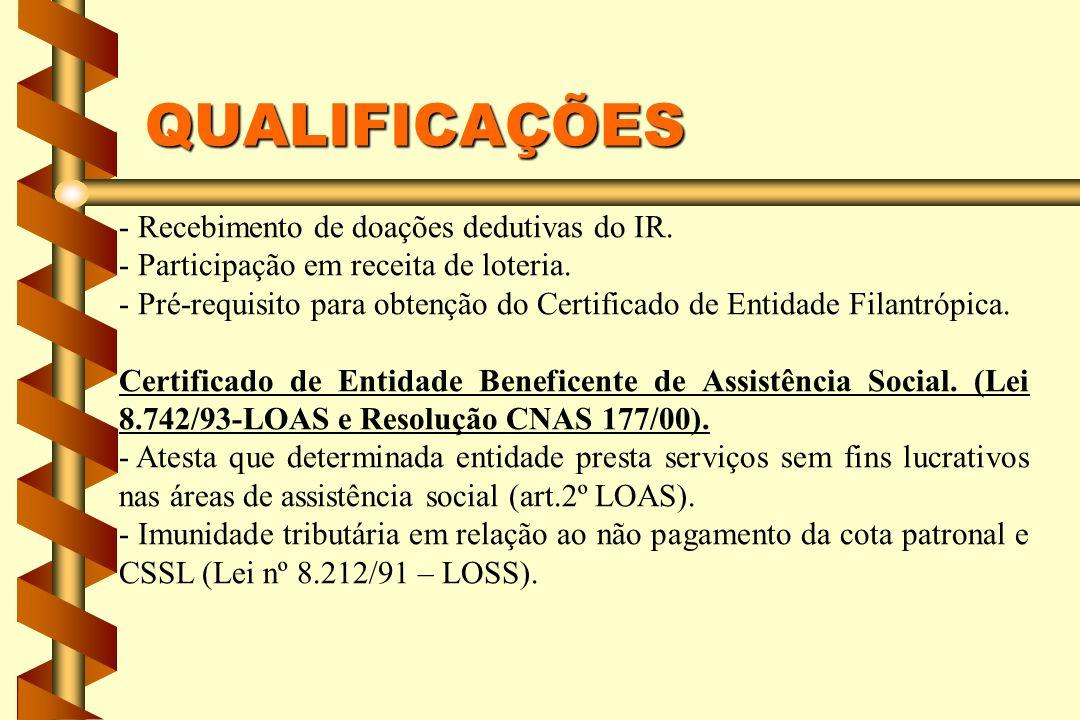 QUALIFICAÇÕES - Recebimento de doações dedutivas do IR. - Participação em receita de loteria. - Pré-requisito para obtenção do Certificado de Entidade
