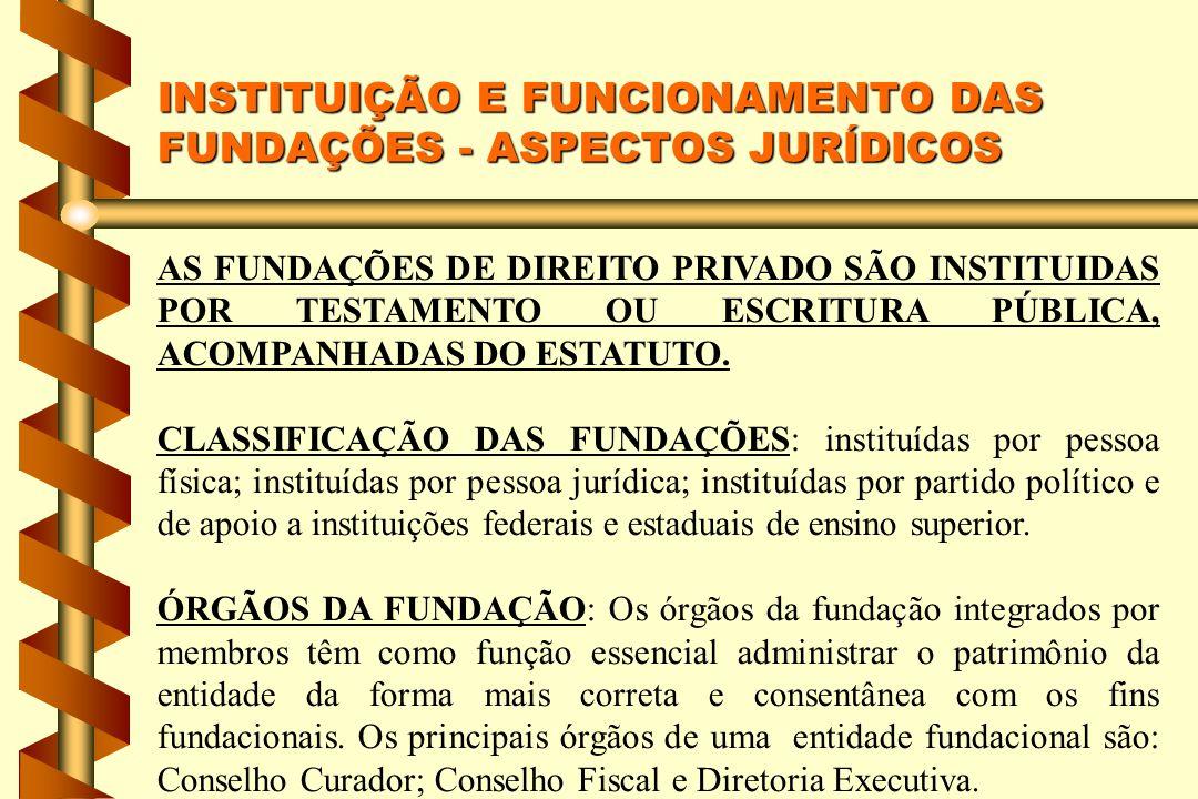 INSTITUIÇÃO E FUNCIONAMENTO DAS FUNDAÇÕES - ASPECTOS JURÍDICOS AS FUNDAÇÕES DE DIREITO PRIVADO SÃO INSTITUIDAS POR TESTAMENTO OU ESCRITURA PÚBLICA, ACOMPANHADAS DO ESTATUTO.