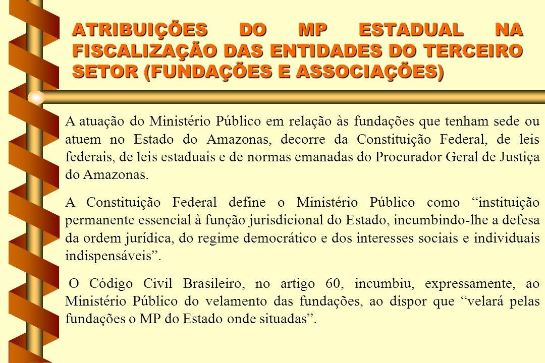 A atuação do Ministério Público em relação às fundações que tenham sede ou atuem no Estado do Amazonas, decorre da Constituição Federal, de leis feder
