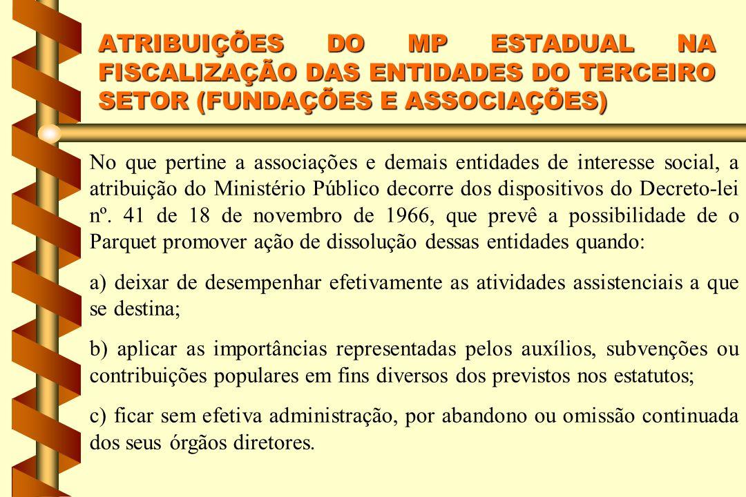 No que pertine a associações e demais entidades de interesse social, a atribuição do Ministério Público decorre dos dispositivos do Decreto-lei nº. 41