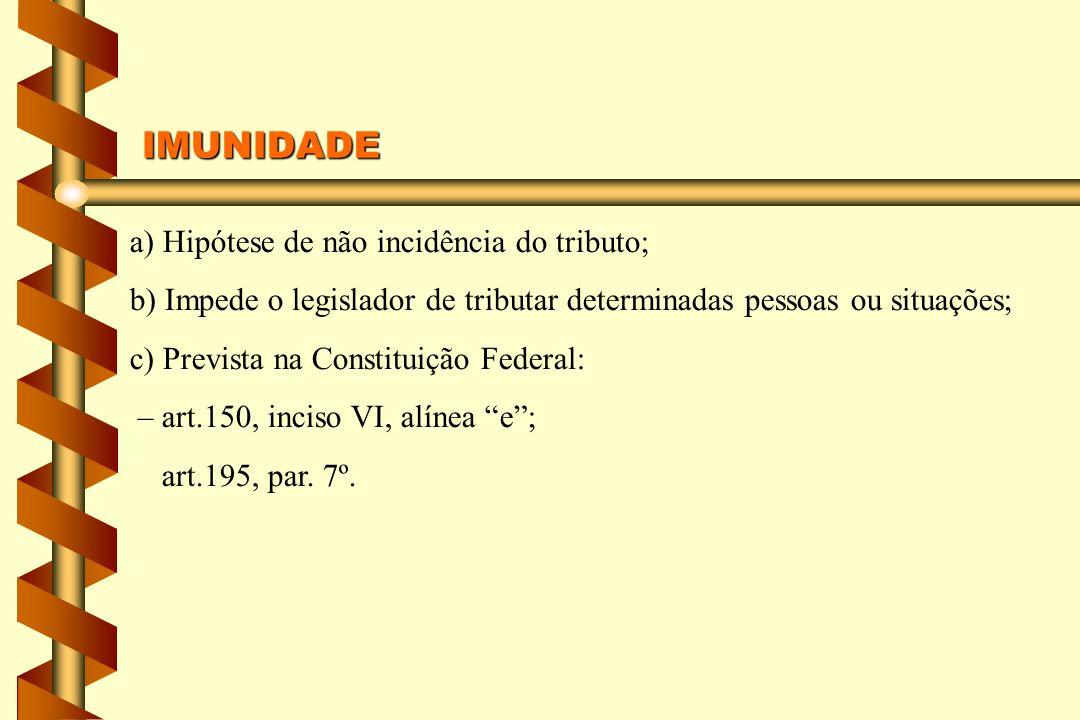 a) Hipótese de não incidência do tributo; b) Impede o legislador de tributar determinadas pessoas ou situações; c) Prevista na Constituição Federal: – art.150, inciso VI, alínea e; art.195, par.