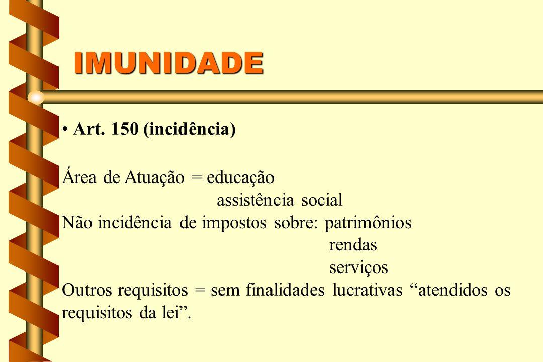 IMUNIDADE Art. 150 (incidência) Área de Atuação = educação assistência social Não incidência de impostos sobre: patrimônios rendas serviços Outros req