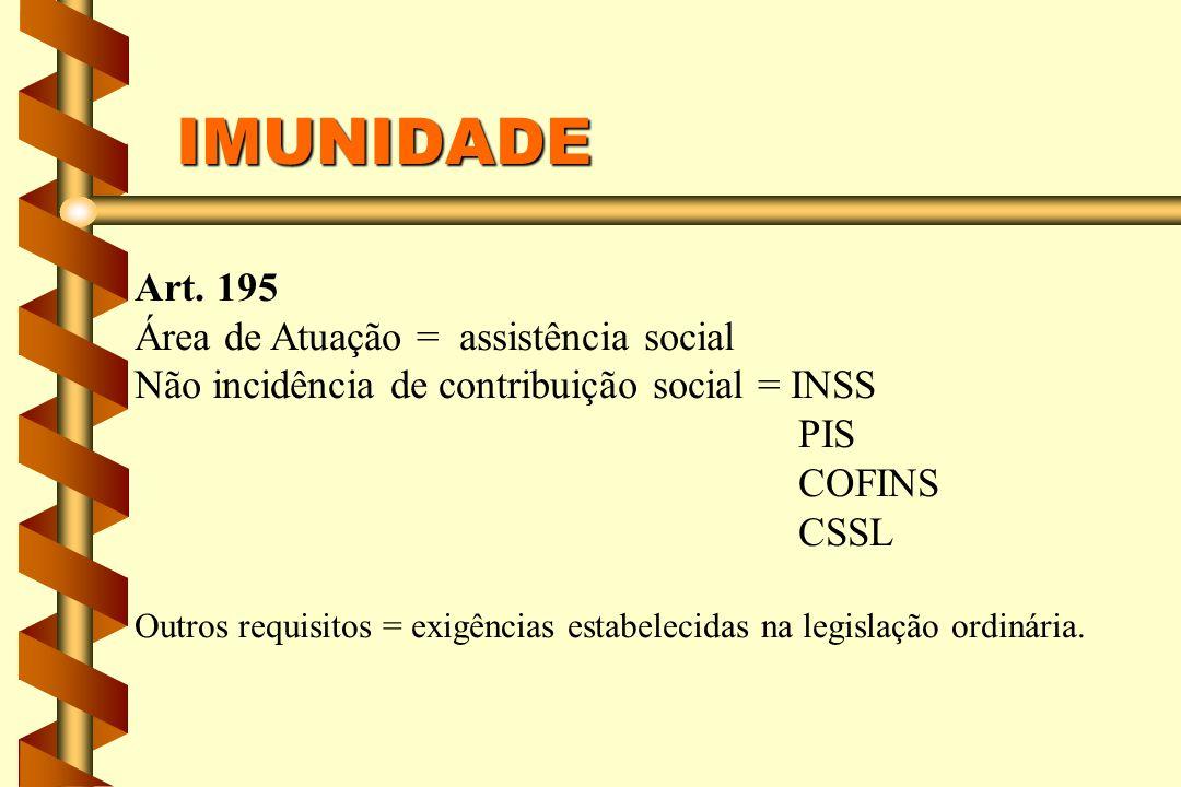 IMUNIDADE Art. 195 Área de Atuação = assistência social Não incidência de contribuição social = INSS PIS COFINS CSSL Outros requisitos = exigências es