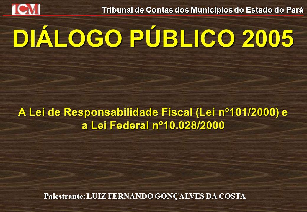 Tribunal de Contas dos Municípios do Estado do Pará A Lei de Responsabilidade Fiscal (Lei nº101/2000) e a Lei Federal nº10.028/2000 Palestrante: LUIZ