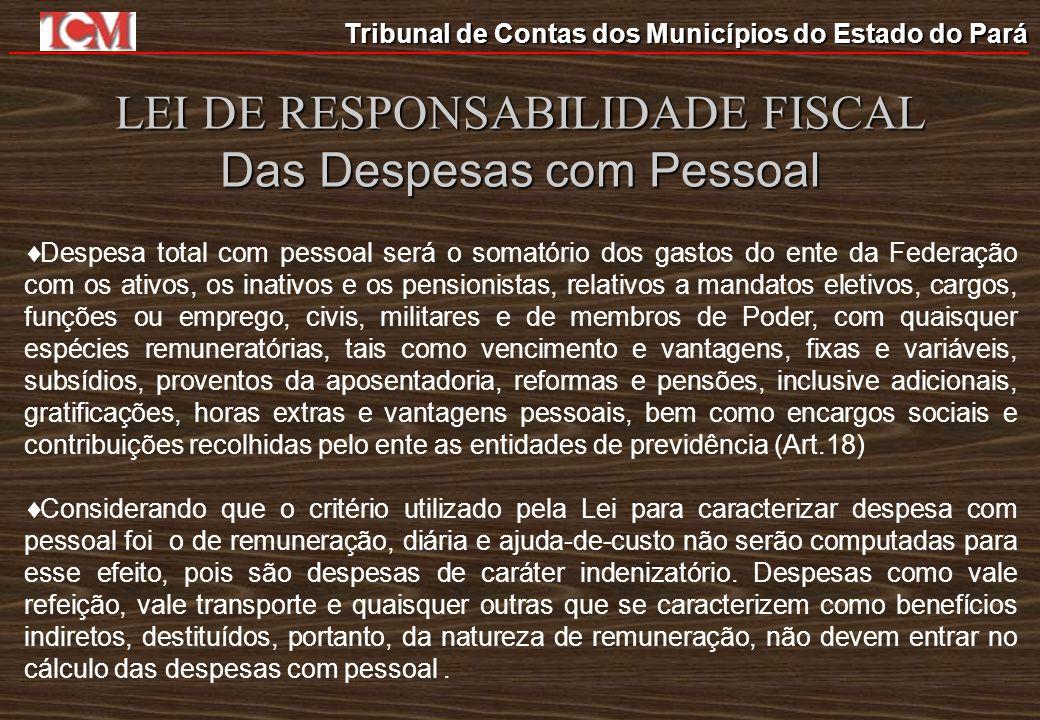 Tribunal de Contas dos Municípios do Estado do Pará LEI DE RESPONSABILIDADE FISCAL Das Despesas com Pessoal Despesa total com pessoal será o somatório