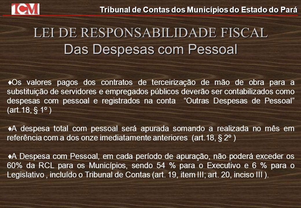 Tribunal de Contas dos Municípios do Estado do Pará LEI DE RESPONSABILIDADE FISCAL Das Despesas com Pessoal Os valores pagos dos contratos de terceiri