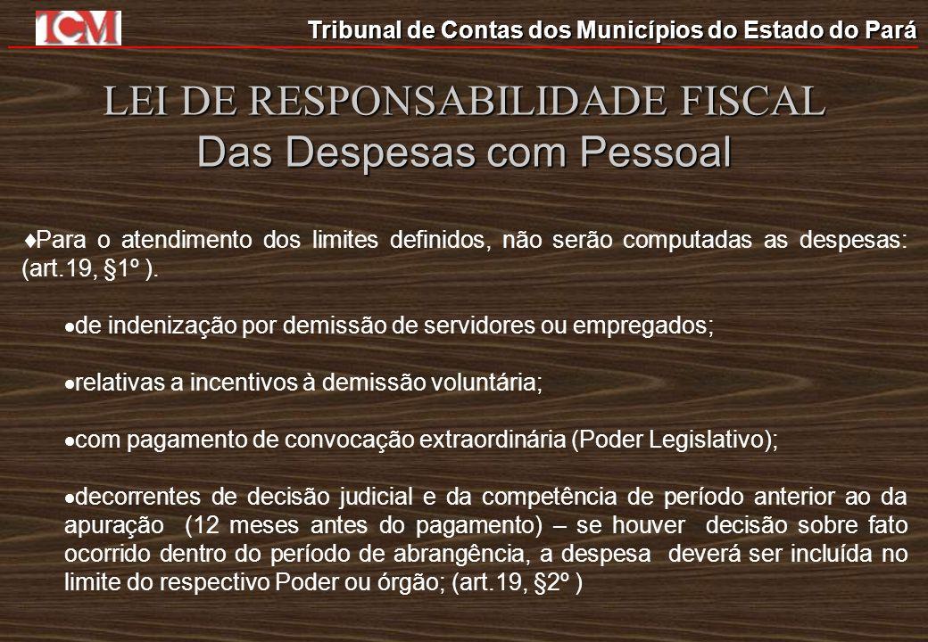Tribunal de Contas dos Municípios do Estado do Pará LEI DE RESPONSABILIDADE FISCAL Das Despesas com Pessoal Para o atendimento dos limites definidos,