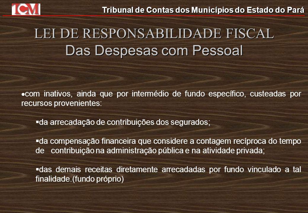 Tribunal de Contas dos Municípios do Estado do Pará LEI DE RESPONSABILIDADE FISCAL Das Despesas com Pessoal com inativos, ainda que por intermédio de