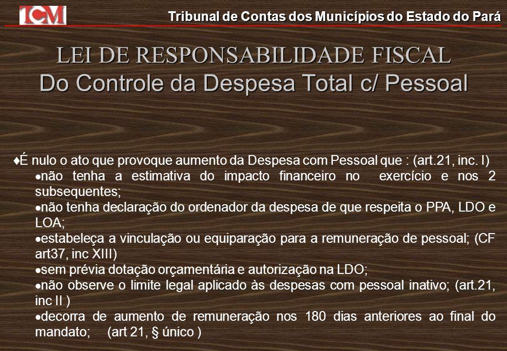 Tribunal de Contas dos Municípios do Estado do Pará LEI DE RESPONSABILIDADE FISCAL Do Controle da Despesa Total c/ Pessoal É nulo o ato que provoque a