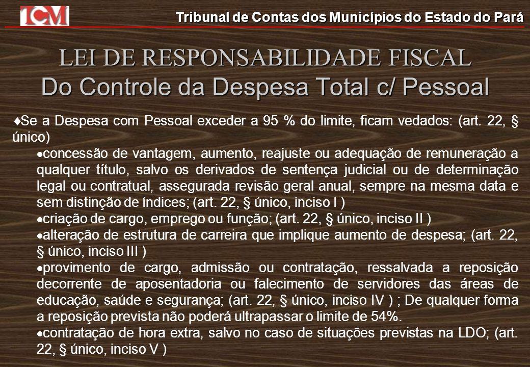 Tribunal de Contas dos Municípios do Estado do Pará LEI DE RESPONSABILIDADE FISCAL Do Controle da Despesa Total c/ Pessoal Se a Despesa com Pessoal ex
