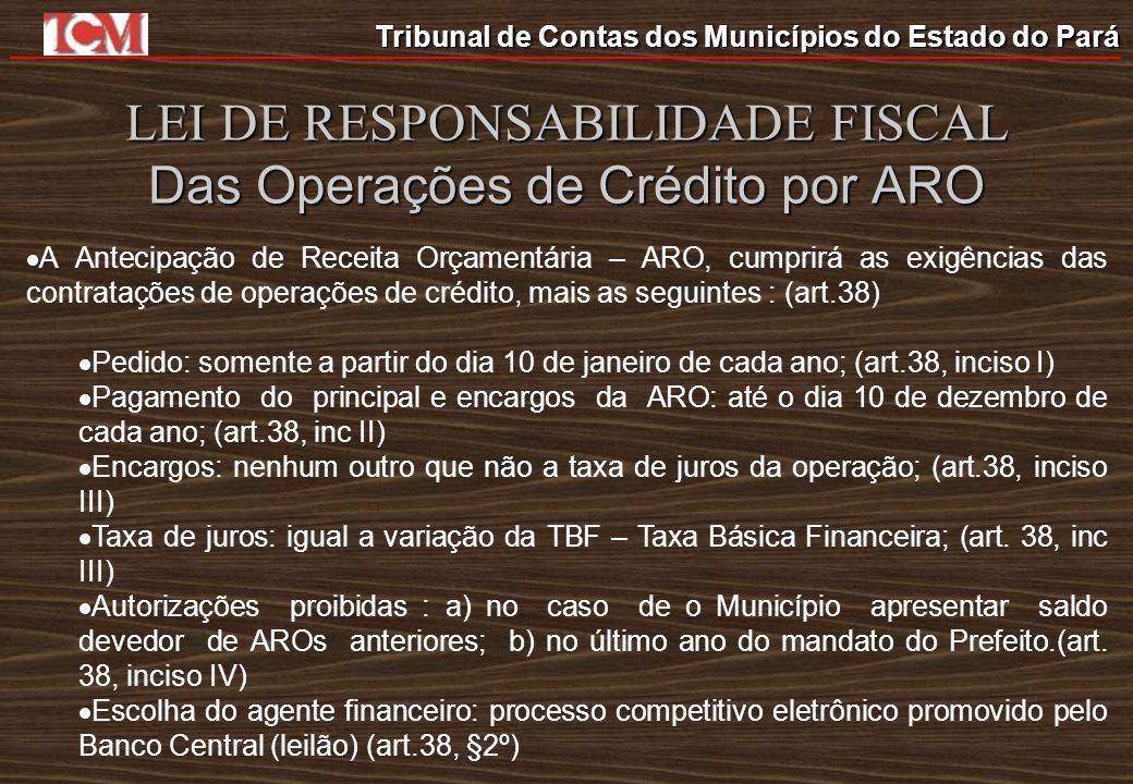 Tribunal de Contas dos Municípios do Estado do Pará LEI DE RESPONSABILIDADE FISCAL Das Operações de Crédito por ARO A Antecipação de Receita Orçamentá