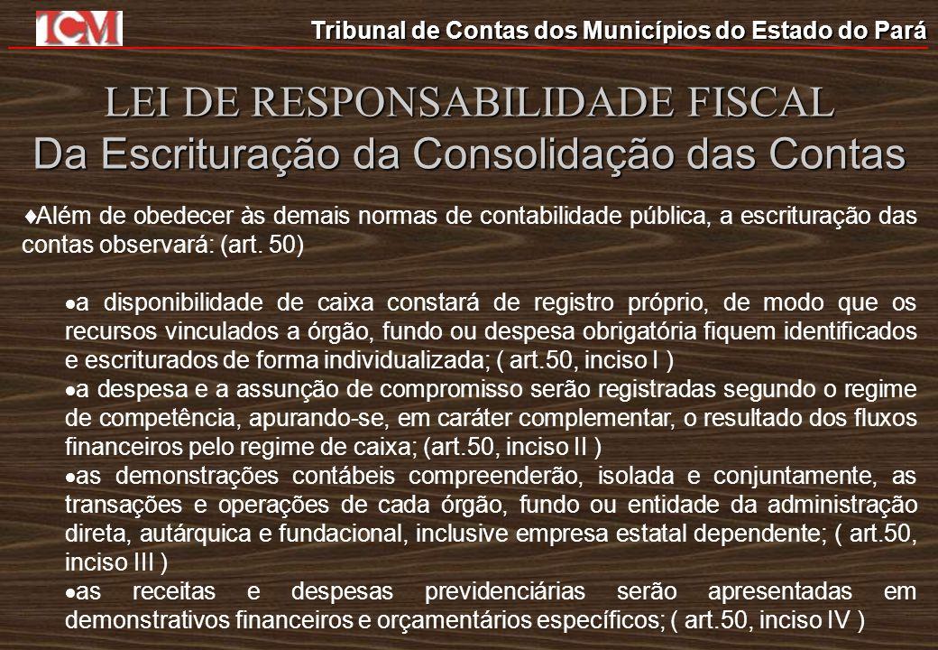 Tribunal de Contas dos Municípios do Estado do Pará LEI DE RESPONSABILIDADE FISCAL Da Escrituração da Consolidação das Contas Além de obedecer às dema