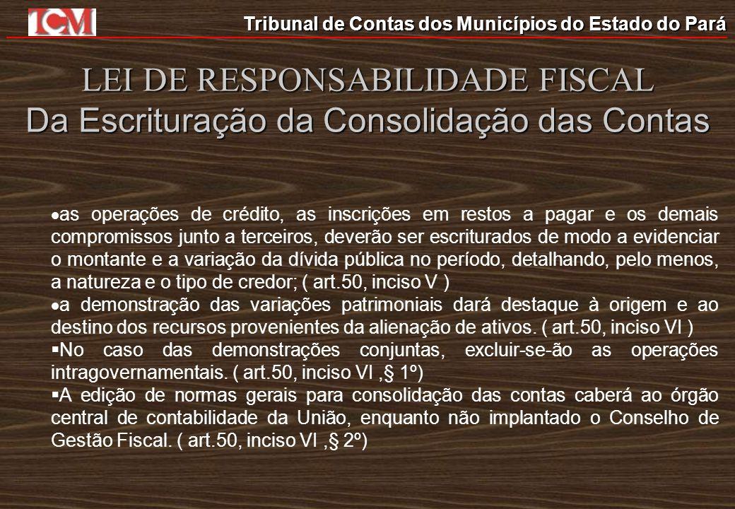 Tribunal de Contas dos Municípios do Estado do Pará LEI DE RESPONSABILIDADE FISCAL Da Escrituração da Consolidação das Contas as operações de crédito,