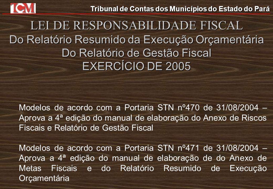 Tribunal de Contas dos Municípios do Estado do Pará LEI DE RESPONSABILIDADE FISCAL Do Relatório Resumido da Execução Orçamentária Do Relatório de Gest