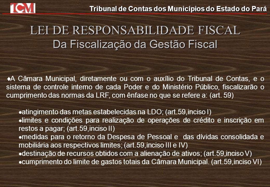 Tribunal de Contas dos Municípios do Estado do Pará LEI DE RESPONSABILIDADE FISCAL Da Fiscalização da Gestão Fiscal A Câmara Municipal, diretamente ou