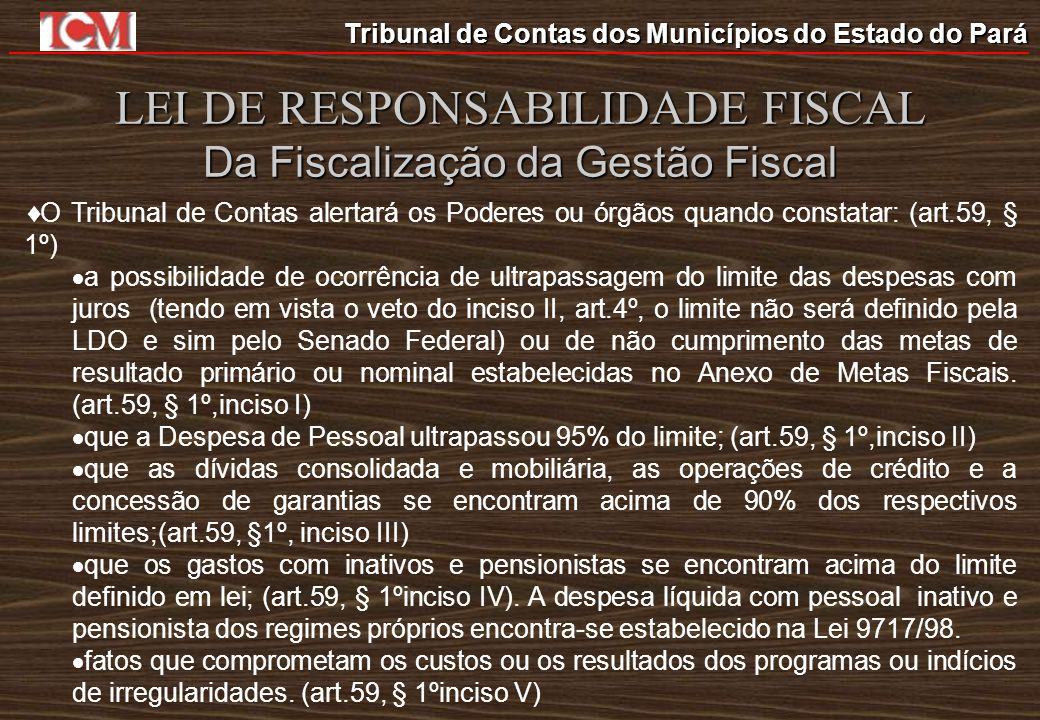 Tribunal de Contas dos Municípios do Estado do Pará LEI DE RESPONSABILIDADE FISCAL Da Fiscalização da Gestão Fiscal O Tribunal de Contas alertará os P