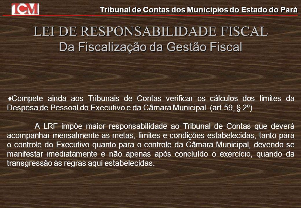 Tribunal de Contas dos Municípios do Estado do Pará LEI DE RESPONSABILIDADE FISCAL Da Fiscalização da Gestão Fiscal Compete ainda aos Tribunais de Con