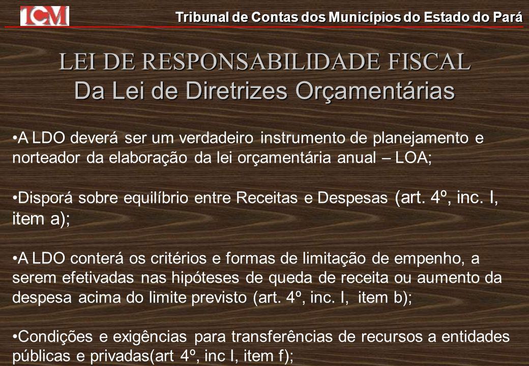 Tribunal de Contas dos Municípios do Estado do Pará LEI DE RESPONSABILIDADE FISCAL Da Lei de Diretrizes Orçamentárias Estabelecerá normas relativas ao controle de custos e à avaliação dos programas financiados com os recursos dos orçamentos (art.