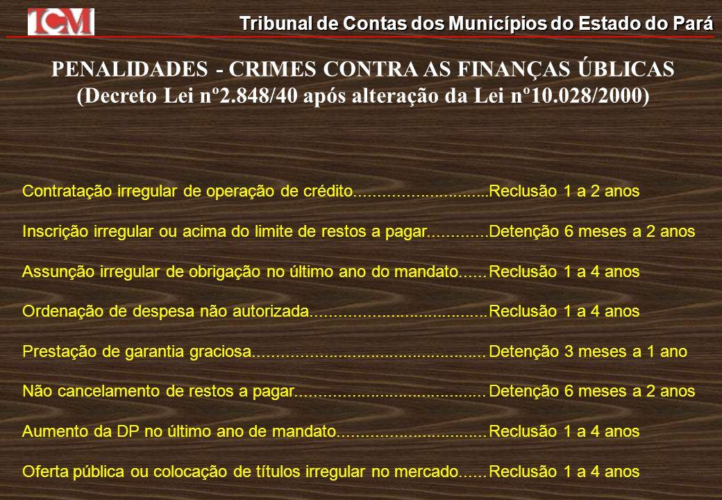 Tribunal de Contas dos Municípios do Estado do Pará PENALIDADES - CRIMES CONTRA AS FINANÇAS ÚBLICAS (Decreto Lei nº2.848/40 após alteração da Lei nº10