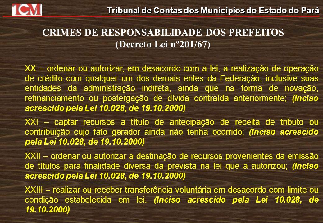 Tribunal de Contas dos Municípios do Estado do Pará CRIMES DE RESPONSABILIDADE DOS PREFEITOS (Decreto Lei nº201/67) XX – ordenar ou autorizar, em desa